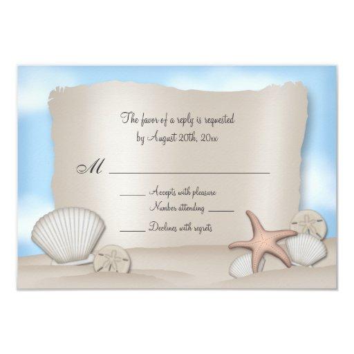 "Beach Wedding Reply Cards 3.5"" X 5"" Invitation Card"