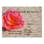Beach Wedding Reply Cards - Rose on sand Custom Announcement