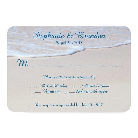 Beach Wedding Reply Cards With Menu Choice