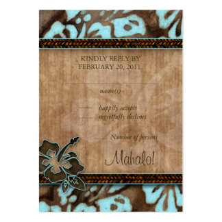 Beach Wedding Response Cards Hibiscus Blue Brown Business Card Template