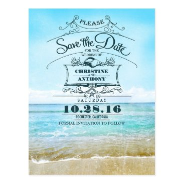 jinaiji Beach wedding retro save the date postcards
