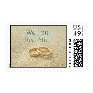 Beach Wedding Rings Wedding Invitation Postage