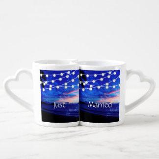 Beach Wedding Romance Glowing Lights Coffee Mug Set