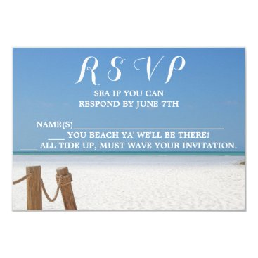 Beach Themed Beach Wedding RSVP Card