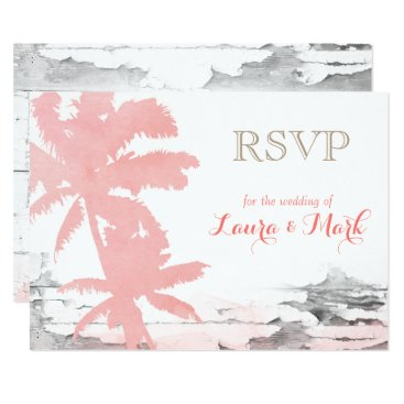 Beach Wedding RSVP Card Coral Palm Trees Wood