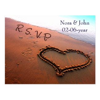 beach Wedding rsvp card Postcard