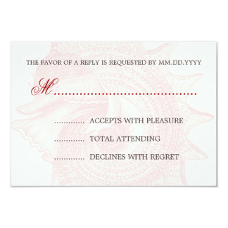 Beach Wedding RSVP Mollusk Shell Red Personalized Invitation