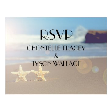 Beach Themed beach wedding rsvp postcard