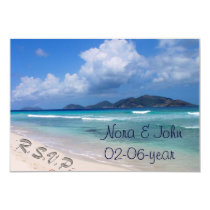 beach wedding RSVP standard 3.5 x 5 Card
