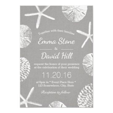 Beach Themed Beach Wedding Rustic Seashells Silver Linen Card