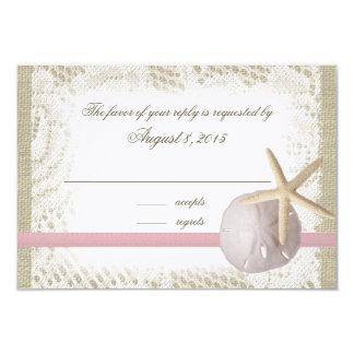 "Beach Wedding Sand Dollar and Starfish Pink 3.5"" X 5"" Invitation Card"