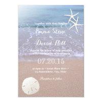 Beach Wedding Sand Dollar & Starfish Card