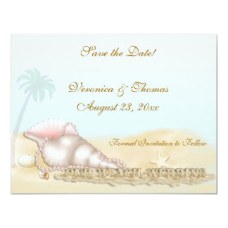Beach Wedding Save the Date 4.25x5.5 Paper Invitation Card