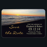 """beach wedding save the date magnets<br><div class=""""desc"""">save the date magnet with romantic sunset in the beach near the sea or ocean.</div>"""
