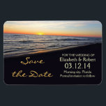 "beach wedding save the date magnets<br><div class=""desc"">save the date magnet with romantic sunset in the beach near the sea or ocean.</div>"