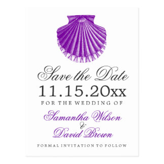 Beach Wedding Save The Date Scallop Shell Purple Postcard