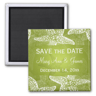 Beach Wedding Save The Date Starfish Lime Green Magnet