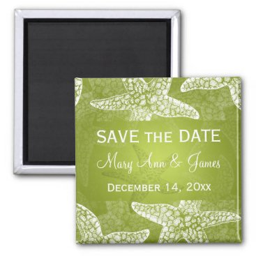 Beach Themed Beach Wedding Save The Date Starfish Lime Green Magnet