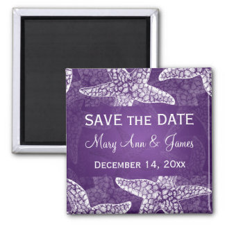 Beach Wedding Save The Date Starfish Purple Magnet