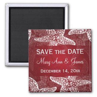 Beach Wedding Save The Date Starfish Red Magnet