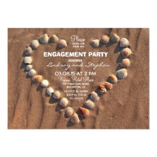 beach wedding sea shells engagement party invite