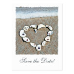 Beach Wedding Seashell Heart Save the Date Postcards