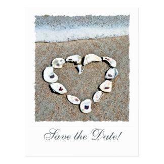 Beach Wedding Seashell Heart Save the Date Postcard