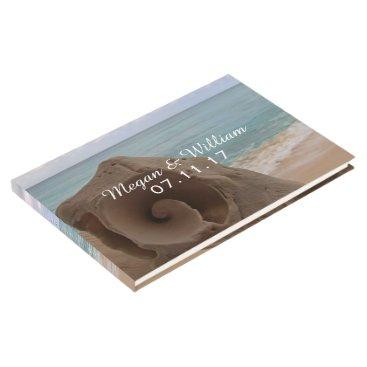 Beach Themed Beach Wedding Seashell   Modern Monogram Nautical Guest Book