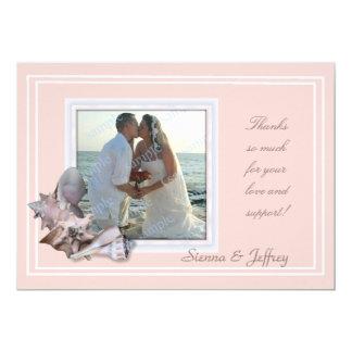 Beach Wedding Seashell Photo Frame Thank You 5x7 Paper Invitation Card