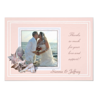Beach Wedding Seashell Photo Frame Thank You Card