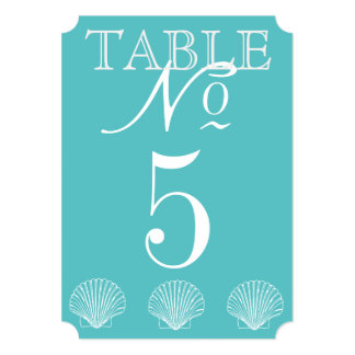 Beach Wedding Seashell Table Number Card
