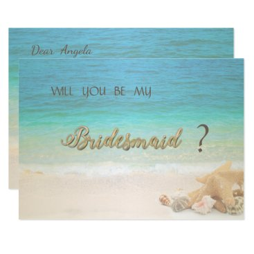 Beach Themed Beach Wedding Seashells Bridesmaid Card