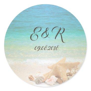 Beach Themed Beach  Wedding Seashells Classic Round Sticker