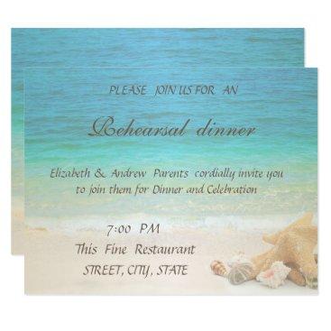 Beach Themed Beach Wedding Seashells  Rehearsal Dinner Card