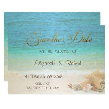 Beach Themed Beach Wedding Seashells  Save The Date Card