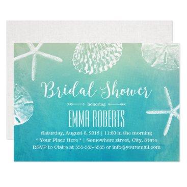 myinvitation Beach Wedding Seashells Watercolor Bridal Shower Card