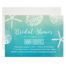 Beach Wedding Seashells Watercolor Bridal Shower Invitation