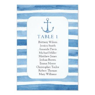 Beach wedding seating chart. Nautical blue anchor Card