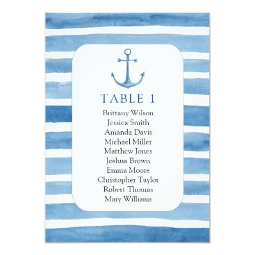 Beach Themed Beach wedding seating chart. Nautical blue anchor Card