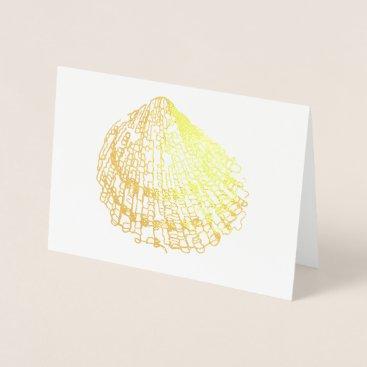 Beach Themed Beach Wedding Shell Card Gold Foil Engagement Card