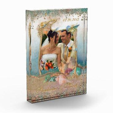 Beach Themed Beach Wedding Shells Glitter Keepsake Photo Plaque
