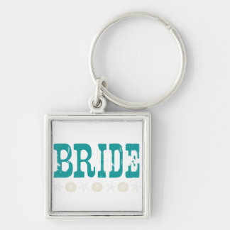 Beach Wedding Silver-Colored Square Keychain