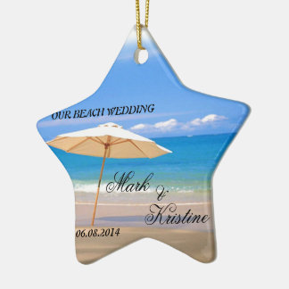 Beach Wedding Souvenirs and Giveaways Double-Sided Star Ceramic Christmas Ornament