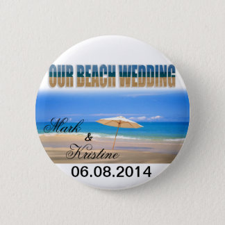 Beach Wedding Souvenirs and Giveaways Pinback Button
