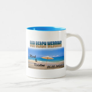 Beach Wedding Souvenirs and Giveaways Two-Tone Coffee Mug