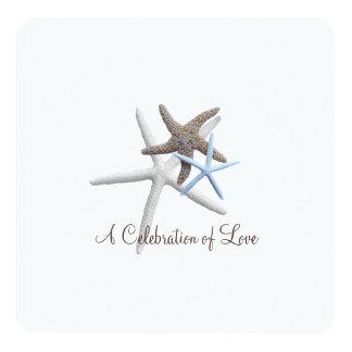 """Beach Wedding Square Starfish Celebration Paper 5.25"""" Square Invitation Card"""