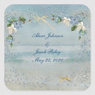 Beach Wedding Square Sticker