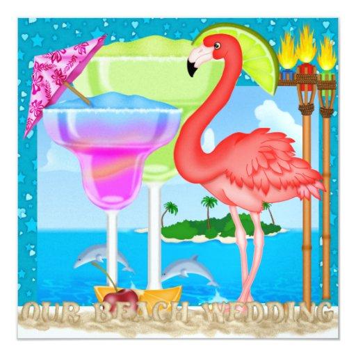 Beach Wedding - SRF 5.25x5.25 Square Paper Invitation Card