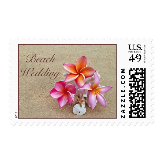 Beach Wedding Stamp with Tropical Flowers on Sand
