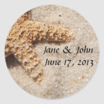 Beach Wedding Starfish Envelope Seals Classic Round Sticker